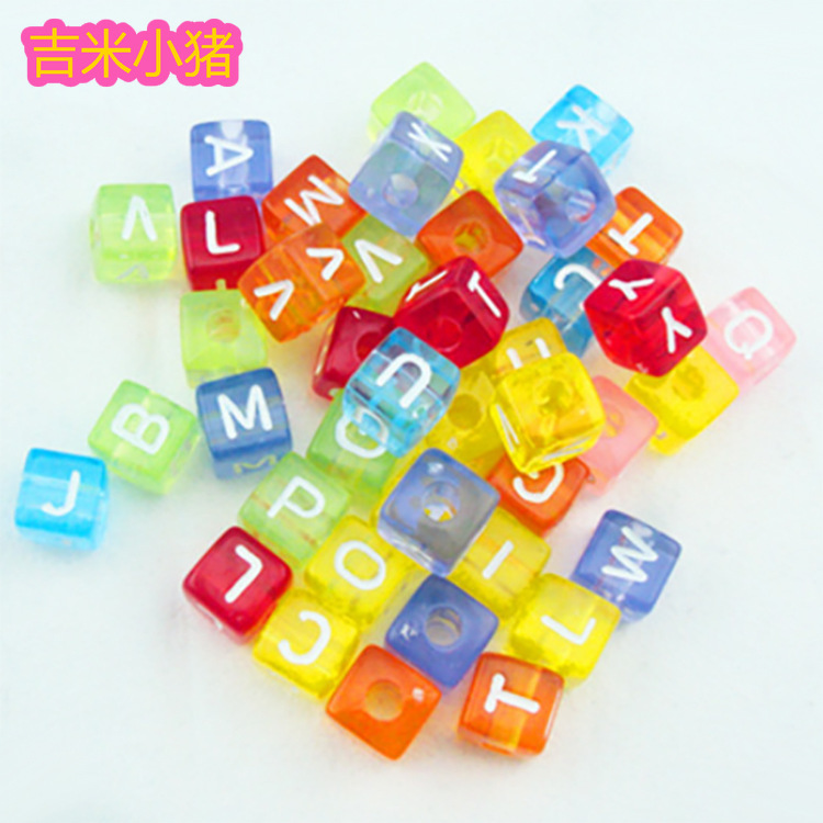 10mm Square Colorful Alphabet/Letter Beads Toys For Children Girl Gifts Lacing Toy Jewelry Making Bead DIY Bracelet Wholesale