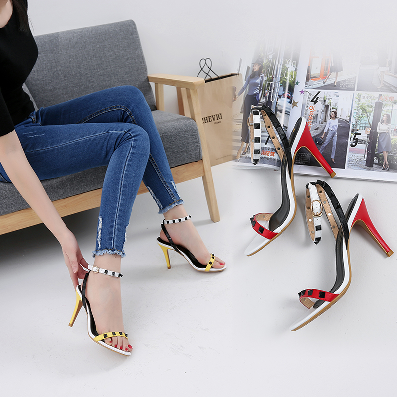 ФОТО 2016 female sandals genuine leather high-heeled shoes strap button thin heels sandals rivet color block decoration sandals