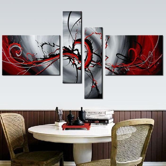 Us 39 01 15 Di Sconto 4 Pezzo Muro Dipinto A Mano Immagine Nero Grigio Chiaro Rosso Pittura A Olio Astratta Moderna Di Arte Della Parete Della