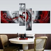 4 Piece קיר צבוע ביד ציור שמן מופשט אדום שחור אפור בהיר תמונה מודרני וול אמנות קישוט הבית (ללא מסגרת)