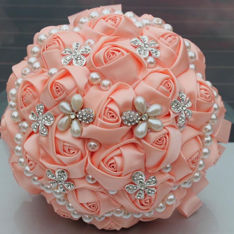 Champán Ramos nupciales Satén Rosa Perlas Artificial Boda Broche - Para fiestas y celebraciones - foto 1
