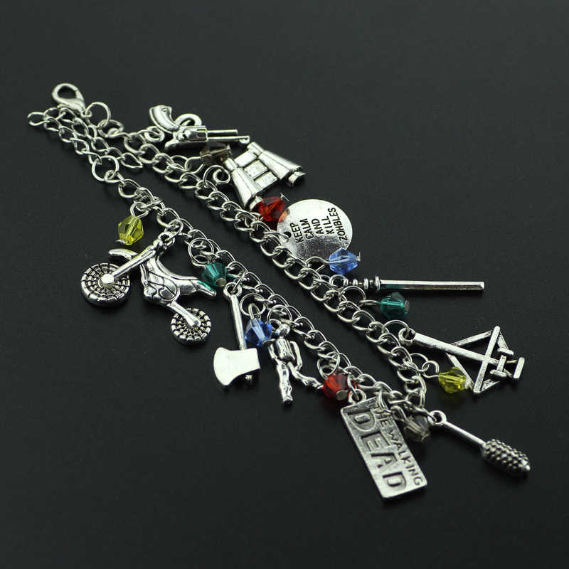 Drop Shipping The Walking Dead inspired bracelet Apocalypse Zombie Survival Horror charm bracelet crossbow telescope axe gun