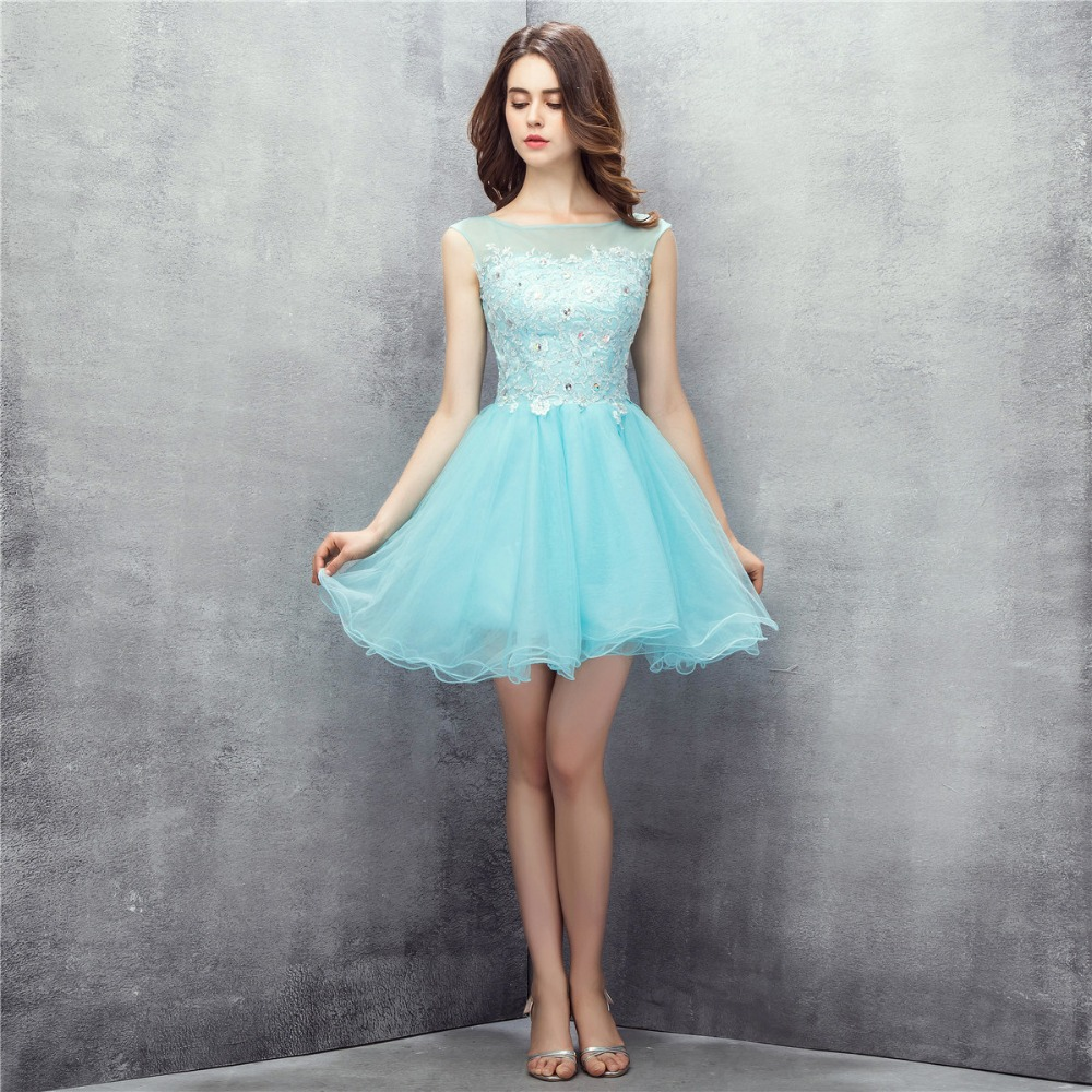 Light Blue Boat Neck Organza Cocktail Dresses Girls Party Homecoming Dresses Mini Sexy Short Prom Dresses 2017
