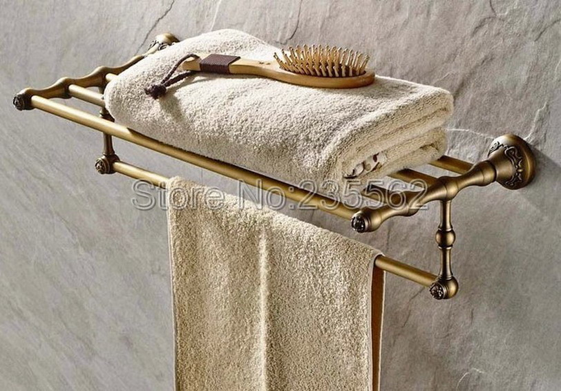 Antique Brass Wall Mounted Bathroom Shower Towel Rack Shelf Bar Rails Holder lba430 aluminum wall mounted square antique brass bath towel rack active bathroom towel holder double towel shelf bathroom accessories