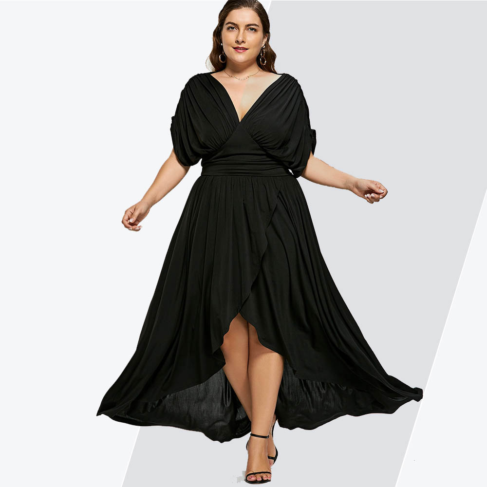 Rosegal High Low Plus Size Maxi Flowy Dress High Waist Party Dress Women Black V-Neck Short Sleeves Ladies Dresses 2019 Vestidos