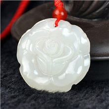 2017 New Natural Afghanistan White Yu Stone Pendant 3D Carved Lover Rose Flower Women Men's Amulet Jewelry Pendants With Rope(China)