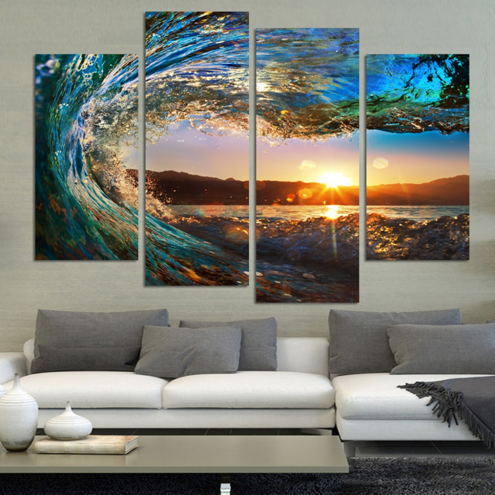4 pcs HD Sea wave Seascape Canvas Painting For halloween wedding decoration Modular wall Picture decor for living room no fr