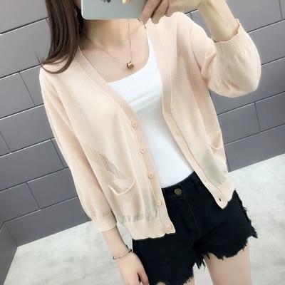 New 2019  spring and summer female knit ice silk v-neck plain cut ice silk thin cardigan coat female