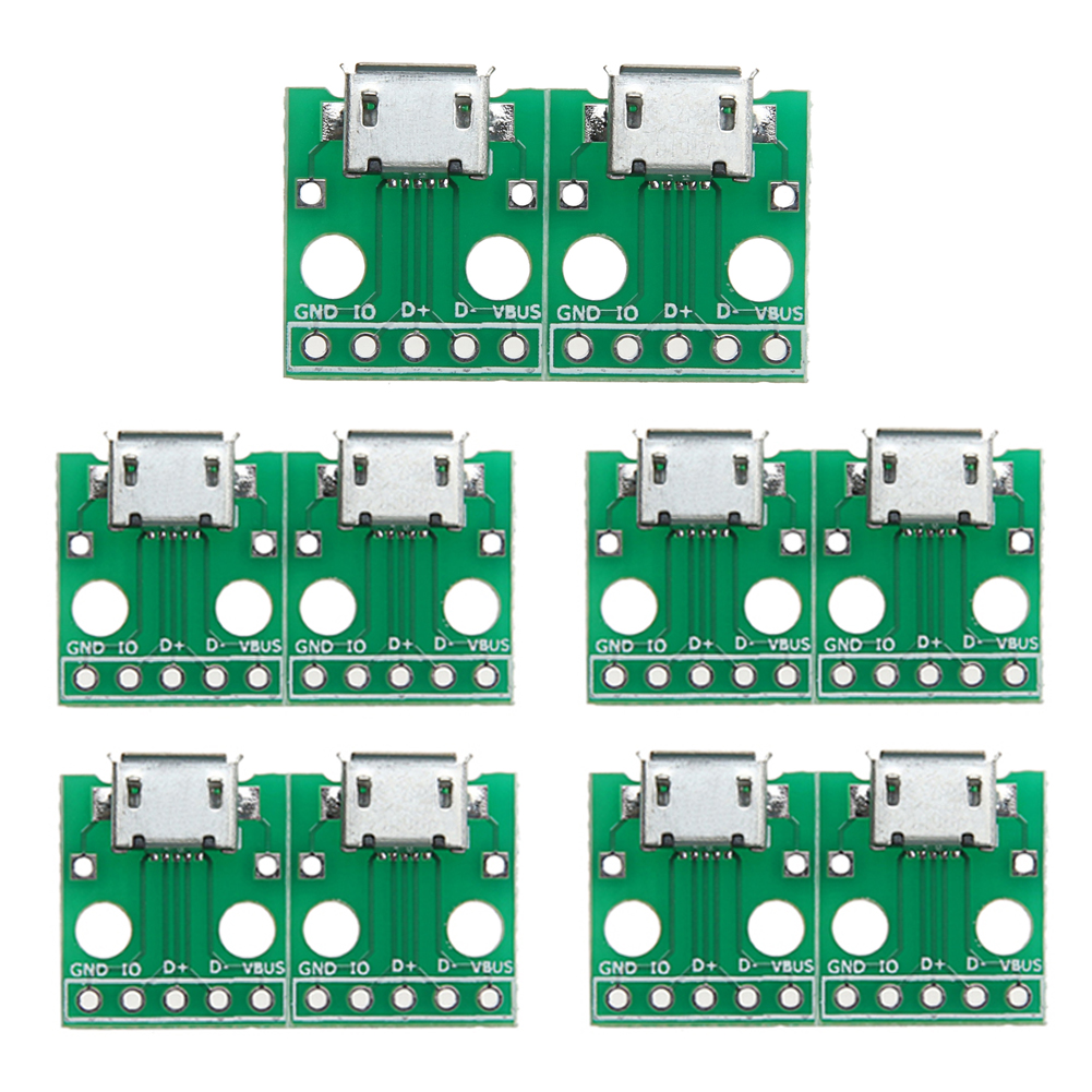 10Pcs Micro USB to DIP Adapter Card 5pin Female Connector B Type PCB Converter Board Pinboard for Computer PC Green win8 10 mac android ftdi ft232rl usb rs232 db9 serial adapter converter cable