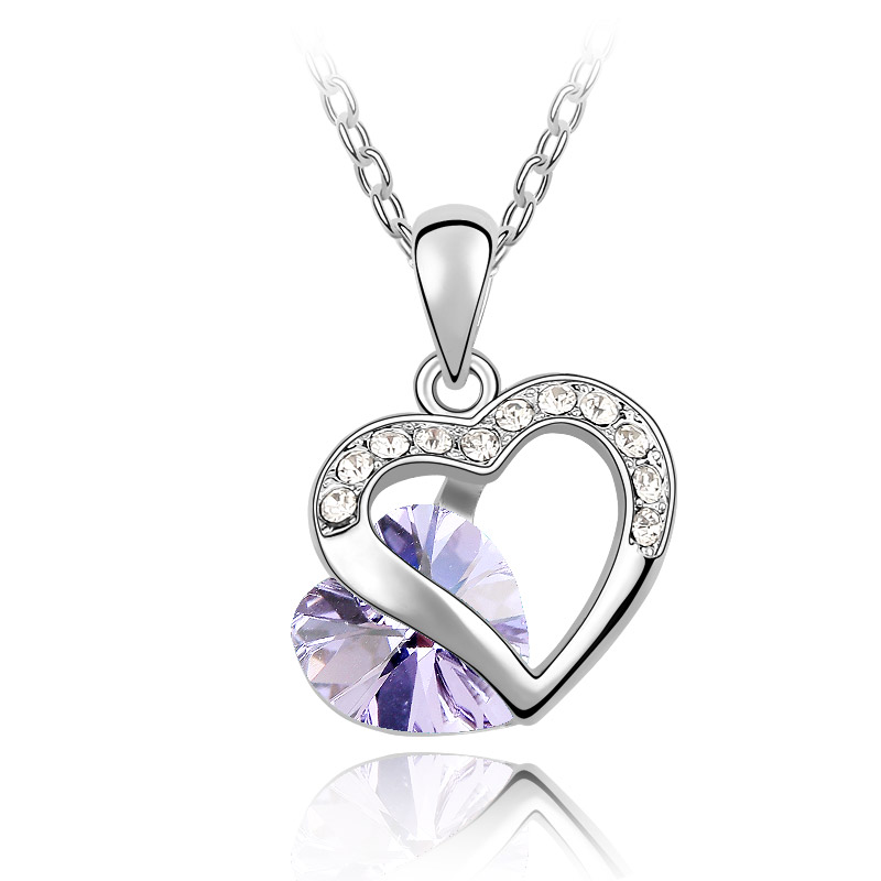 BAF Crystal Double heart necklace Rhodium Plated Necklaces of ...