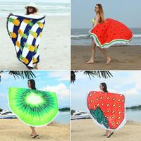 Digital Floral Printed Beach Towel Round Fruit Pattern Bath Towel Fringe Microfiber Fabric Seat Cushion Moisture proof Pad