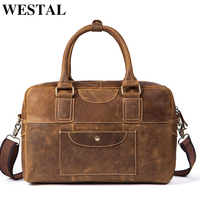 WESTAL Men Travel Bags Hand Luggage Suitcases and Travel Bags Business Weekend Bag Leather Men Vintage Luggage Duffle Bag