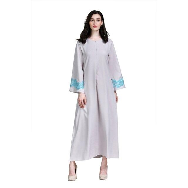 Largo islámico musulmán mujeres vestido bordado Floral Jilbab Mujer ...