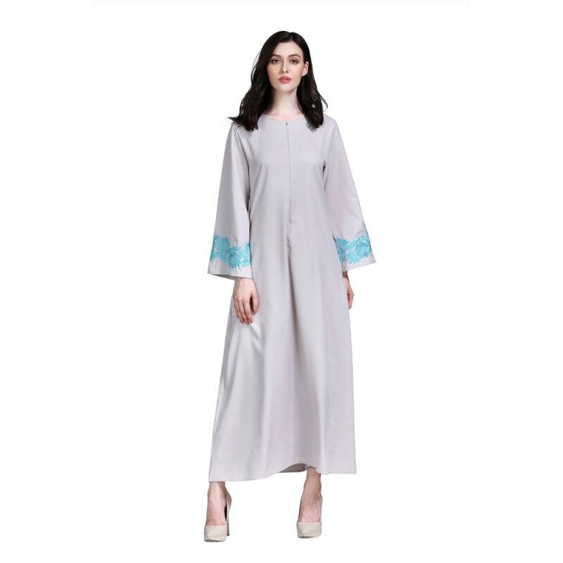 Long Muslim Islamic Dress Women Embroidered Floral Jilbab Femme Modest Clothing Long Sleeve Dubai Abaya Dress Mujer H7