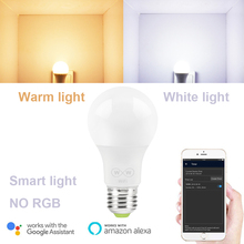 2 Color 6,5 W E27 Wifi inteligente bombilla LED 2700-3500 K NO RGB luz blanca y caliente luz solo para Amazon Alexa Google Home