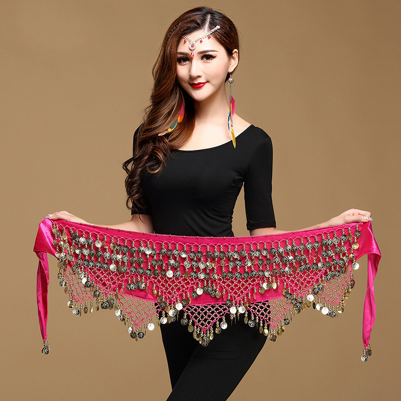 Belly Dance Accessories Sexy Costumes Velvet Belly Dance Coin Belt Gold Coin Waist Chain Practice Belly Dance Hip Belt DN1633
