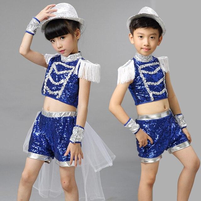 Nuevo 2017 niños Jazz Dance outfit ropa del niño sequin hip hop danza  moderna danza 11d27cded33