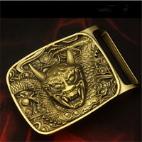 Retail New Style Solid Brass Dragon Belt Buckle 7 4 5 0cm Yellow Metal For 4