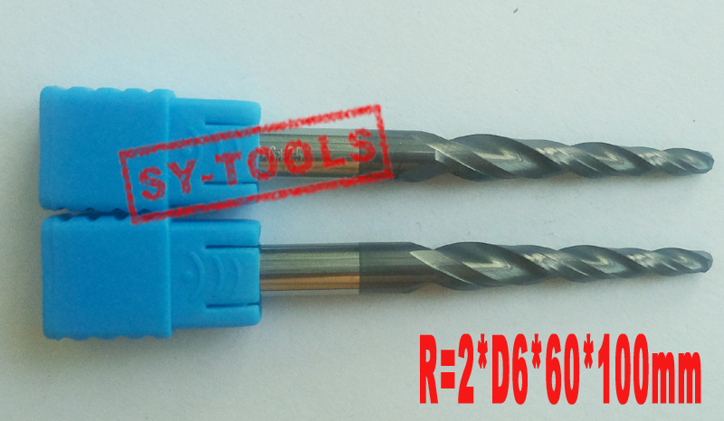 1pc R2*D6*60*100L*2F HRC55 Tungsten solid carbide Coated Tapered Ball Nose End Mills taper and cone endmills