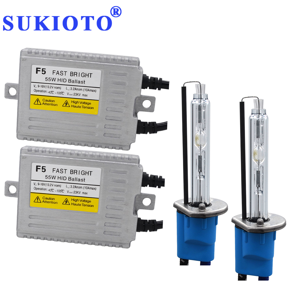 SUKIOTO 55 W Xénon H7 Métal H1 Xenon HID Ampoule Lentille Du Projecteur Phare kit bixenon D2H 5500 K Blanc H11 HB3 F5 Rapide Lumineux HID KIT