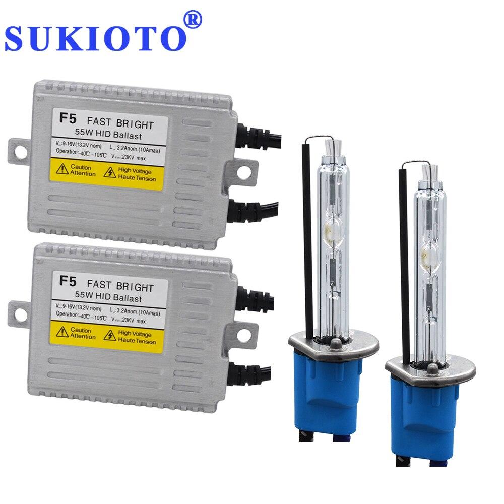 SUKIOTO 55 W Xenon H7 métal H1 xénon HID projecteur lentille ampoule kit phare bixenon D2H 5500 K blanc H11 HB3 F5 KIT HID lumineux rapide