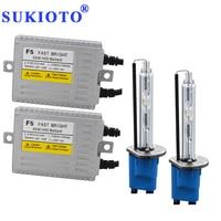 SUKIOTO 55W Xenon H7 Metal H1 Xenon HID Projector Lens Bulb Headlight kit bixenon D2H 5500K White H11 HB3 F5 Fast Bright HID KIT