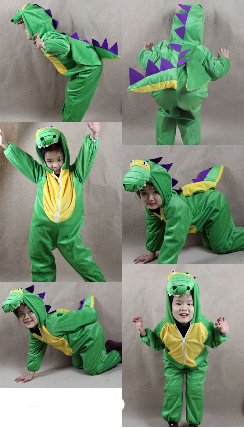 New Cute Kids Unisex Children Onesie Pajamas Children Animal Cartoon Dinosaur Onesie Green in stock
