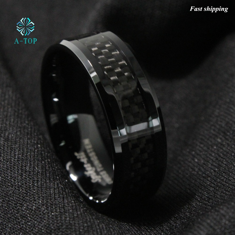 Mens Jewelry Tungsten Ring With Carbon Fiber 8mm Black