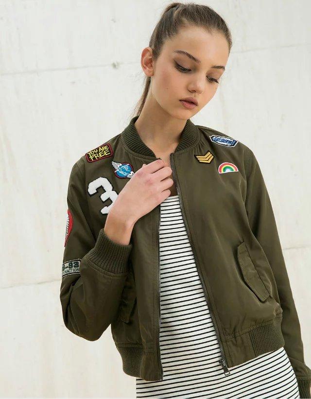 2017 Nova Primavera Outono Mulheres Bombardeiro Vôo Exército Verde Casacos de Senhora Casaco de Beisebol Casuais outerwear Sólida Bordado Streetwear
