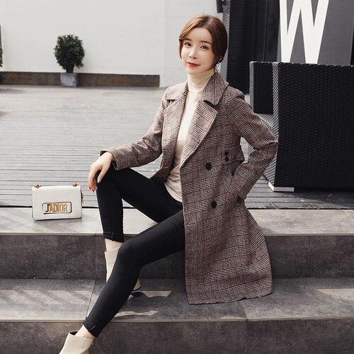De Femmes D'hiver Camel Pardessus Mode Manteaux Laine Dames Manteau Plaid Lâche Coréen 2018 Poule BXZTUq