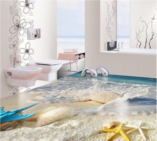 Custom Flooring Bedroom Photo Wallpaper Shell Beach Waves 3d Wall Mural  Wallpaper 3d Flooring Adhesive Vinyl