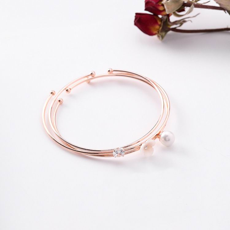 MENGJIQIAO 2018 New Elegant Shell Flower Shiny Zircon Multilayer Bracelets & Bangles Women Fashion Adjustable Bracelet Gifts