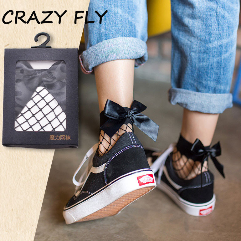 2019 New Design Sexy Women's Black Breathable Bow Knot Fishnet Socks Sexy Hollow Out Mesh Nets Socks Girl's Bow Sox Street Wear