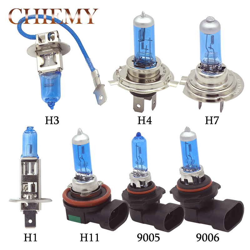 2x Car Light Bulb H1 H3 H4 H7 H11 9005 HB3 9006 HB4 12V 100W White 5000K Quartz Blue Glass Car Headlight Lamp Fog Lights