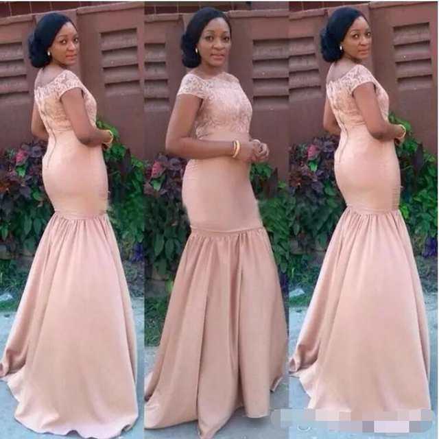 6bce2b84e5d19 Blushing Mermaid African Bridesmaid Dresses Long Off the Shoulder Lace Top  Satin Black Girls Formal Wedding
