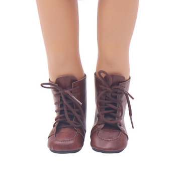 18 Inch American Doll Girls Shoes Brown Lace-up Martin Boots PU Shoe Newborn Baby Toys Accessories Fit 40-43 Cm Boy Dolls s104 недорого