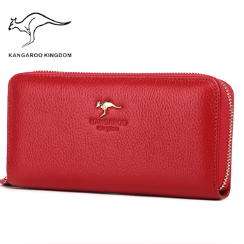 цена на Kangaroo Kingdom Luxury Women Wallets Genuine Leather Pusre Brand Wallet Ladies Clutch