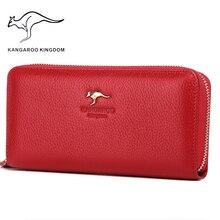 Kangaroo Kingdom ผู้หญิงหรูหรากระเป๋าสตางค์หนัง Pusre ยี่ห้อกระเป๋าสตางค์สุภาพสตรีคลัทช์