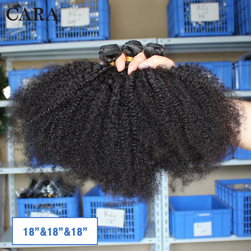 Image 3 - Mongolian Afro Kinky Curly Hair Human Hair Bundles 4B 4C Hair Weave Remy Natural Human Hair Extension CARA Products 1&3 Bundles-in Hair Weaves from Hair Extensions & Wigs