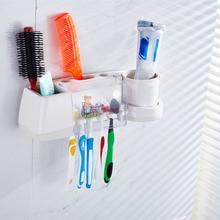 De dibujos animados Titular de cepillo de Dientes Conjunto de Lavado Fuerte Taza de Enjuague de Rack de Almacenamiento de Pasta de Dientes Automático Dispensador de Pasta de dientes de Succión de Pared
