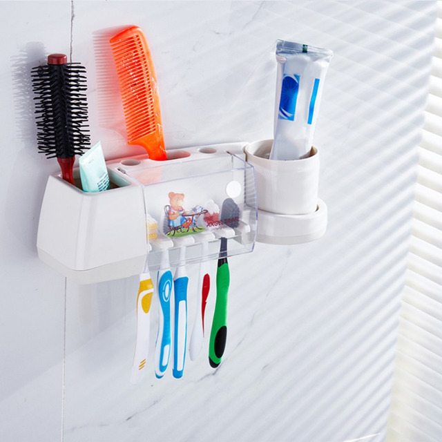 Cartoon Toothbrush Holder Wash Set Strong Wall Suction Toothpaste Rinsing Mug Storage Rack Automatic Toothpaste Dispenser & Cartoon Toothbrush Holder Wash Set Strong Wall Suction Toothpaste ...