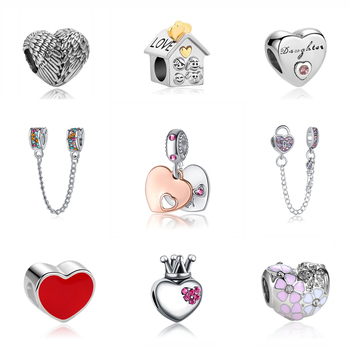 Posrebrzane Charmsy do bransoletki typu Pandora serca