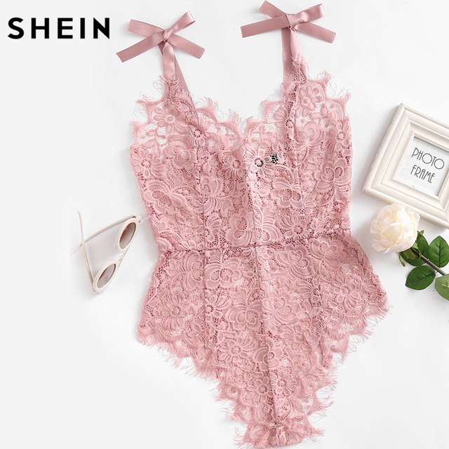 be5797b703 SHEIN Ribbon Tie Shoulder See Though Floral Lace Bodysuit Ladies Sexy  Bodysuit Pink Sleeveless V Neck
