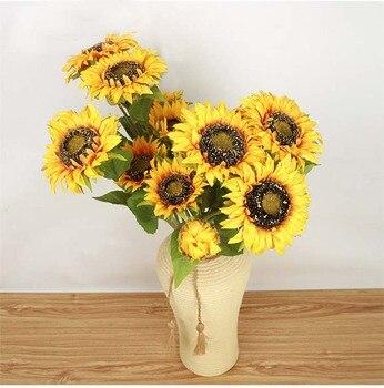 Высокое качество яркие 3 головки искусственный подсолнух Большие размеры Шелковый поддельные цветок лобби украшения 3 шт./лот