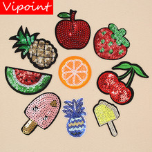 VIPOINT embroidery sequins fruits patches foods badges applique for clothing XW-144