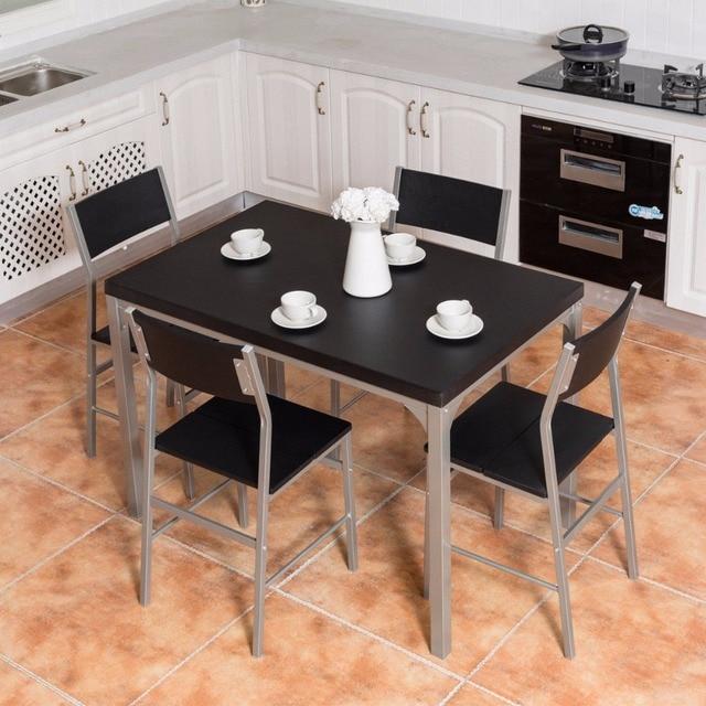 Giantex 5 Piece Dining Set Table U0026 4 Chairs Wood Metal Kitchen Breakfast Furniture  Black Living