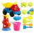 12 pçs/set kit carro de Brinquedo Banho do bebê jogar com ferramenta de escavação da caçamba de areia ampulheta pá grande brincando na água banho