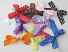 FZNNKG 300pcs Fashion bows by 10mm satin ribbon handmade craft bowknot polka dots printed children clothes accessories