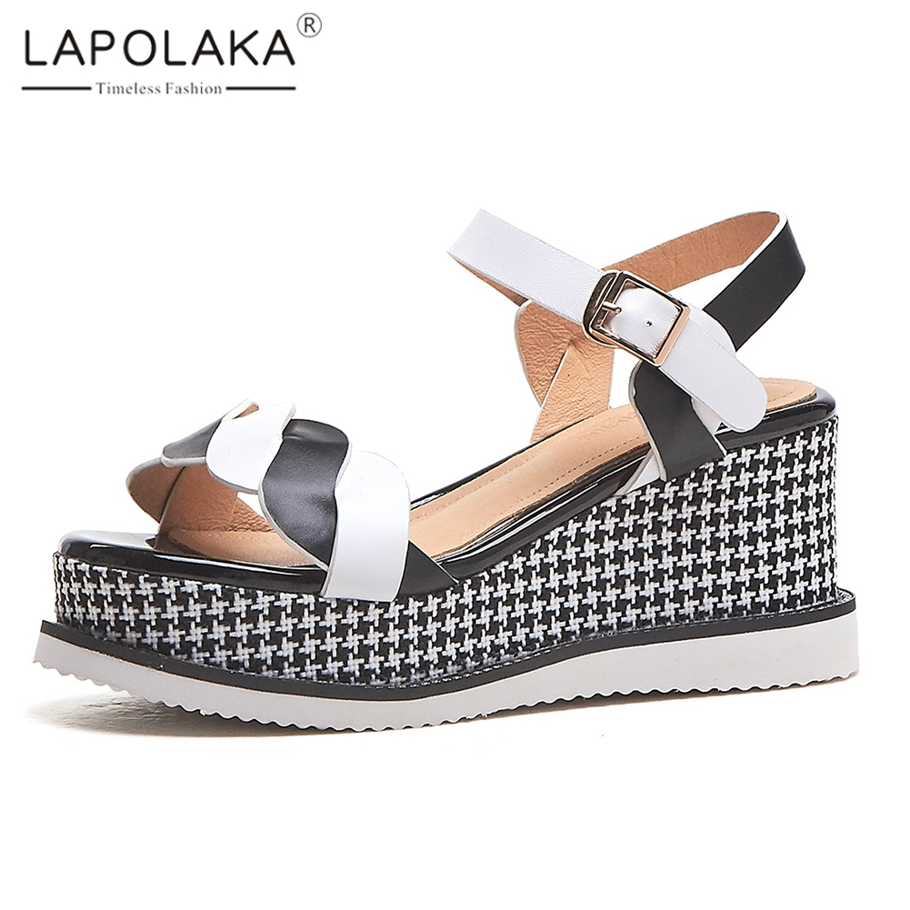 Lapolaka 2019 Mixed Colors Sweet Genuine Leather Shoes Sandals Woman Summer Platform Sandals Woman Wedges Shoes WomanLapolaka 2019 Mixed Colors Sweet Genuine Leather Shoes Sandals Woman Summer Platform Sandals Woman Wedges Shoes Woman