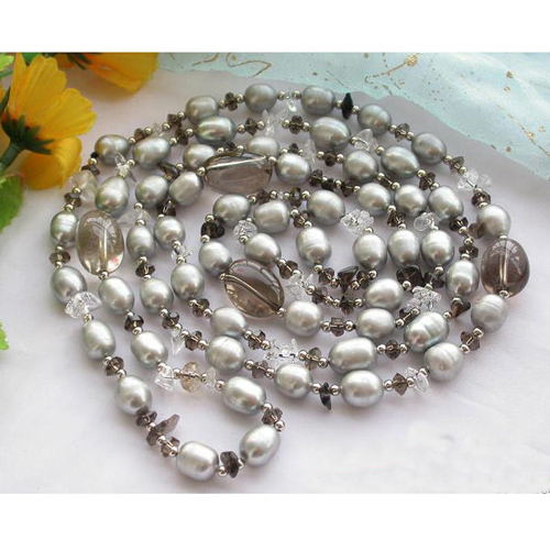 New Arriver Real Pearl Jewellery,48inches 4-16mm Gray Rice Freshwater Pearls Smoke Crystal Beads Necklace,Free Shipping.New Arriver Real Pearl Jewellery,48inches 4-16mm Gray Rice Freshwater Pearls Smoke Crystal Beads Necklace,Free Shipping.